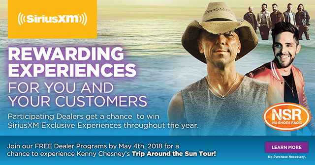 REWARDING EXPERIENCES FOR YOU AND YOUR CUSTOMERS. Join our Free Dealer Programs by May 4th, 2018 for a chance to experience Kenny Chesney's Trip Around the Sun Tour!