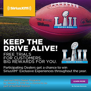 Participating Dealers get a chance to win SiriusXM Exclusive Experiences throughout the year.